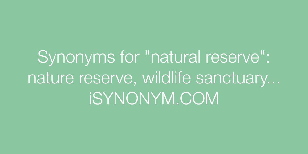 Synonyms natural reserve