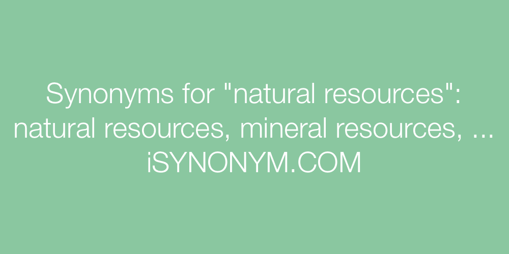 Synonyms natural resources