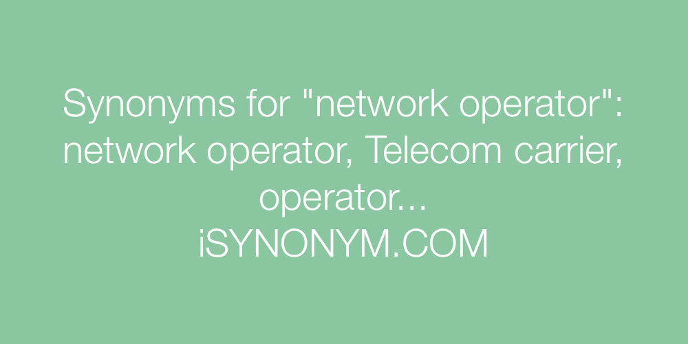 Synonyms network operator