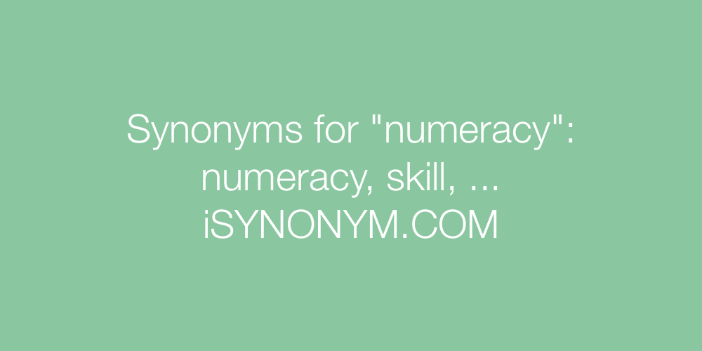 Synonyms numeracy