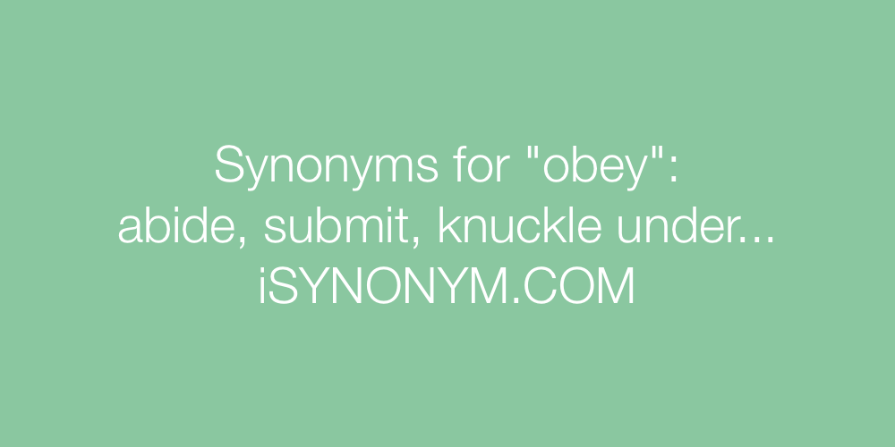 Synonyms obey