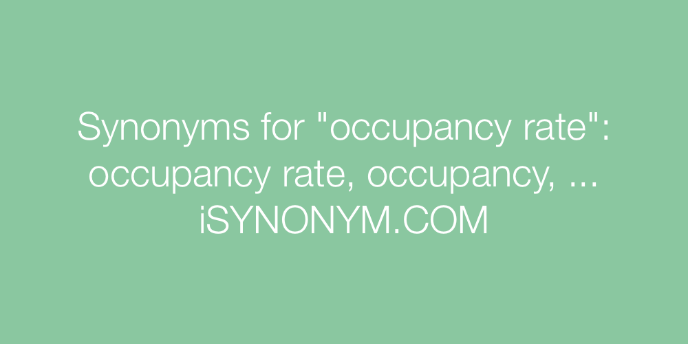 Synonyms occupancy rate