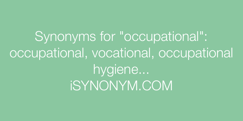 Synonyms occupational