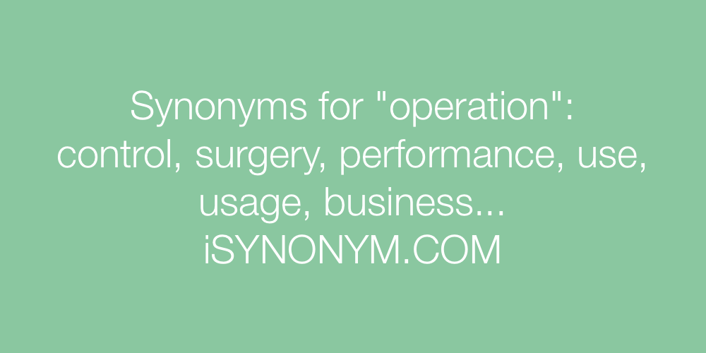 Synonyms operation