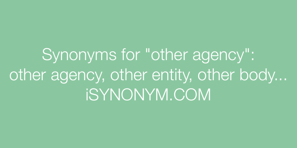 Synonyms other agency