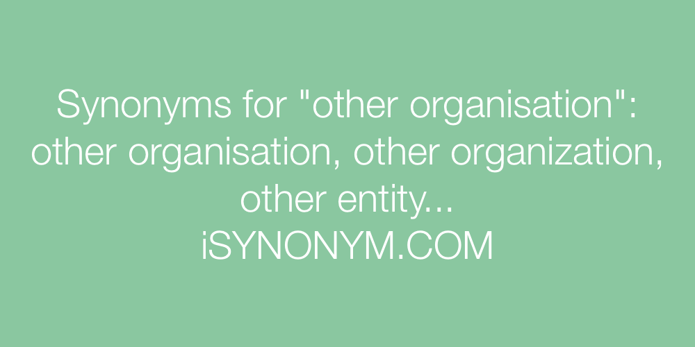 Synonyms other organisation