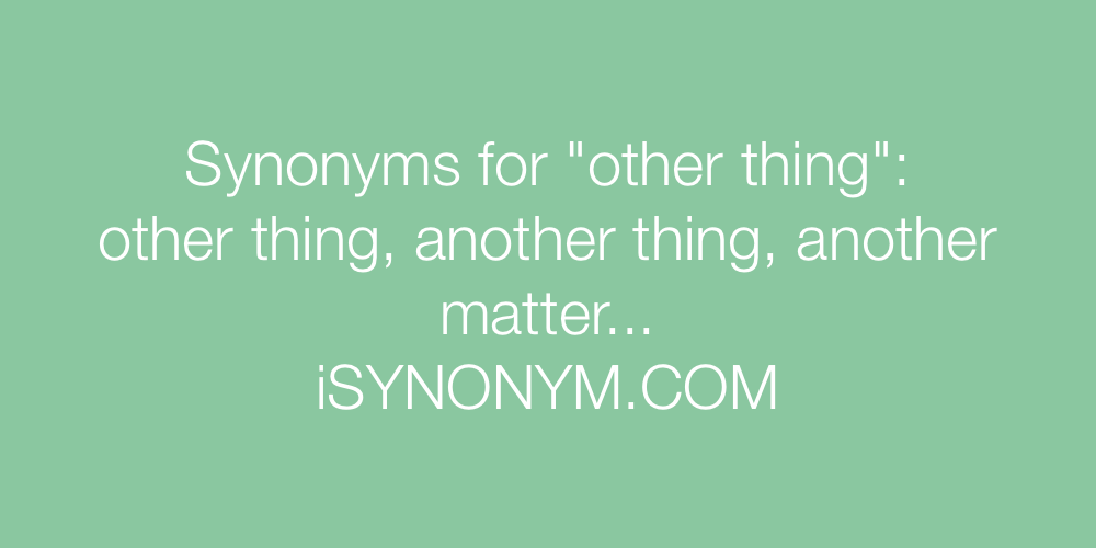 Synonyms other thing