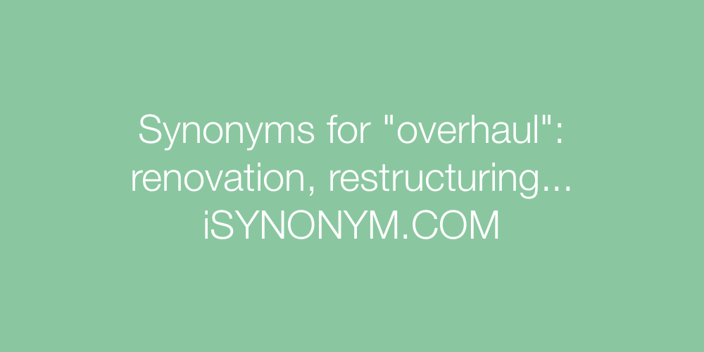 Synonyms overhaul