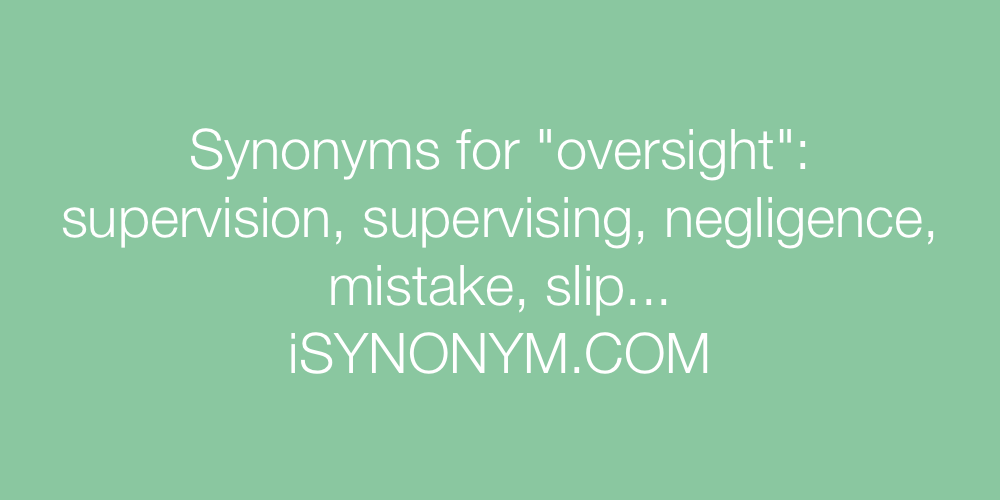 Synonyms oversight