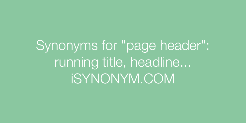 Synonyms page header
