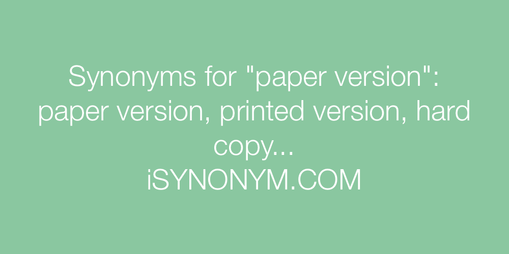 Synonyms paper version