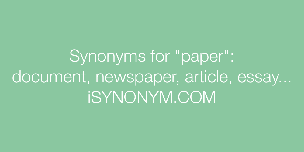 Synonyms paper