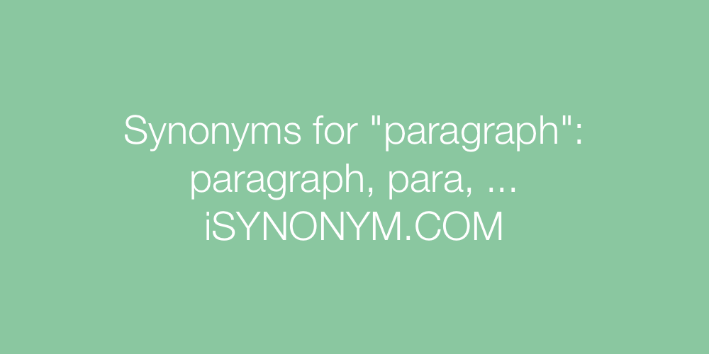 Synonyms paragraph