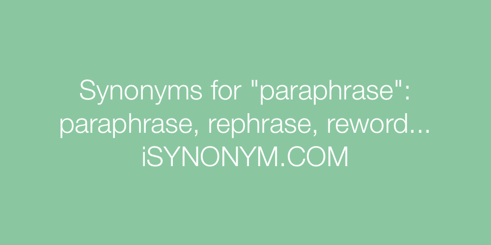 Synonyms paraphrase