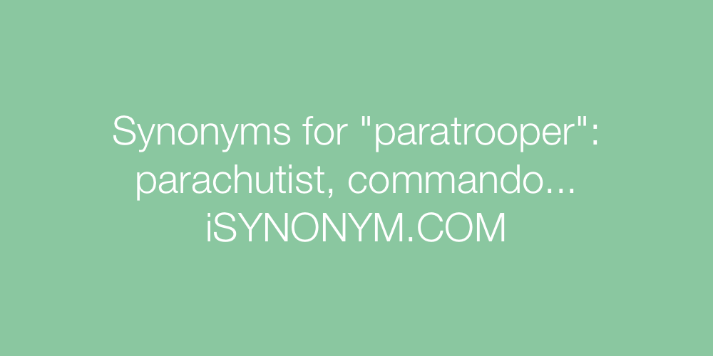 Synonyms paratrooper