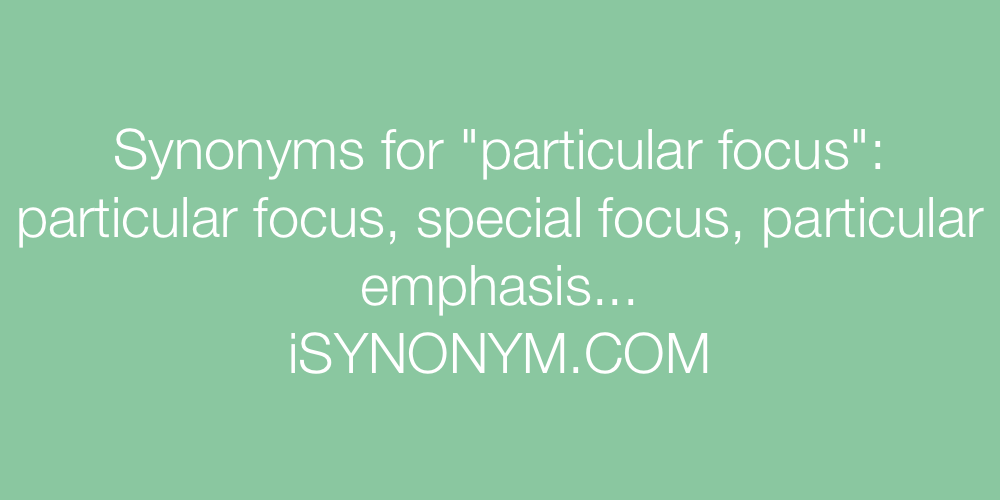 Synonyms particular focus