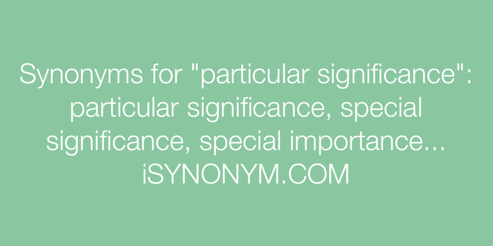 Synonyms particular significance