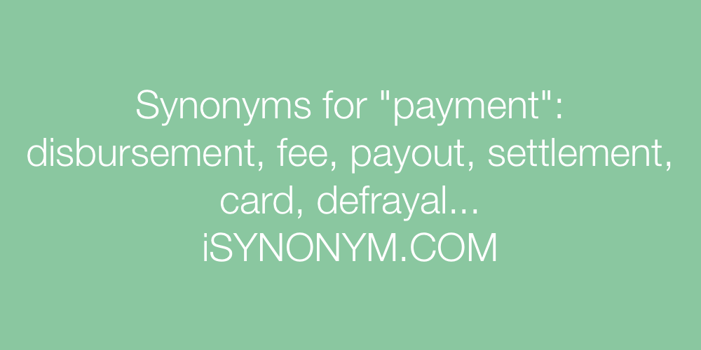 Synonyms payment
