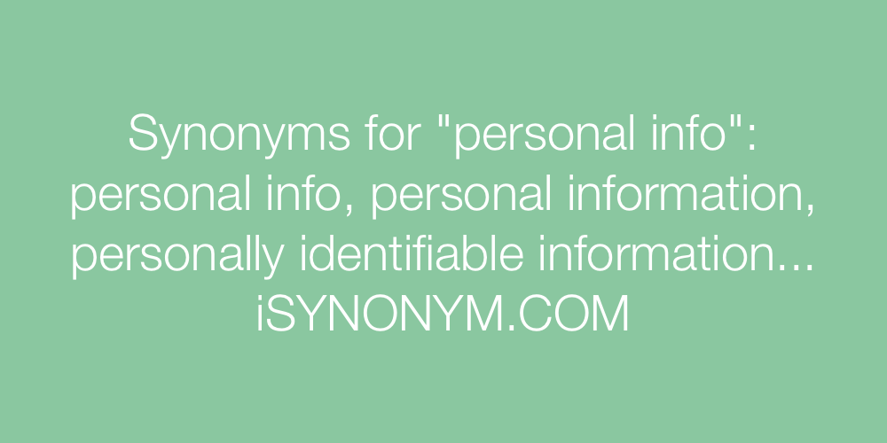 Synonyms personal info