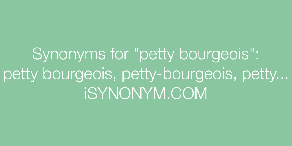 Synonyms petty bourgeois