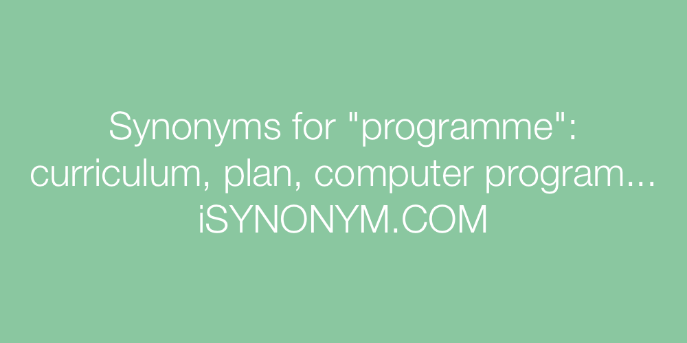 Synonyms programme