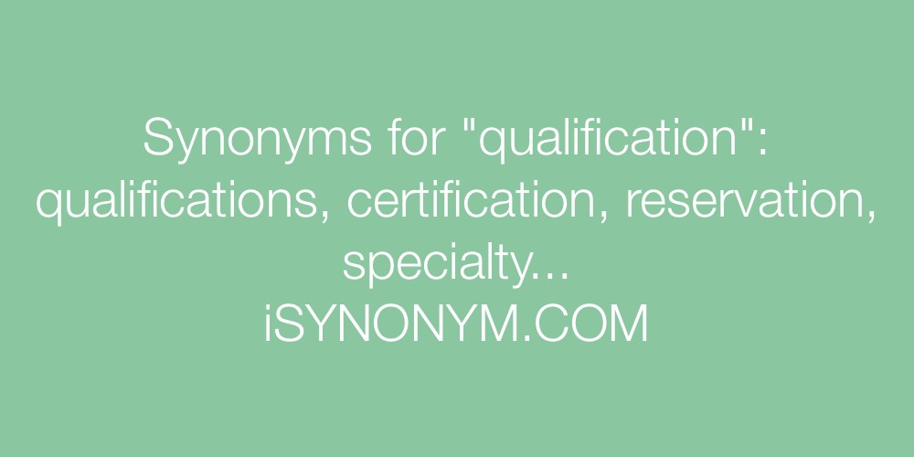 Synonyms qualification