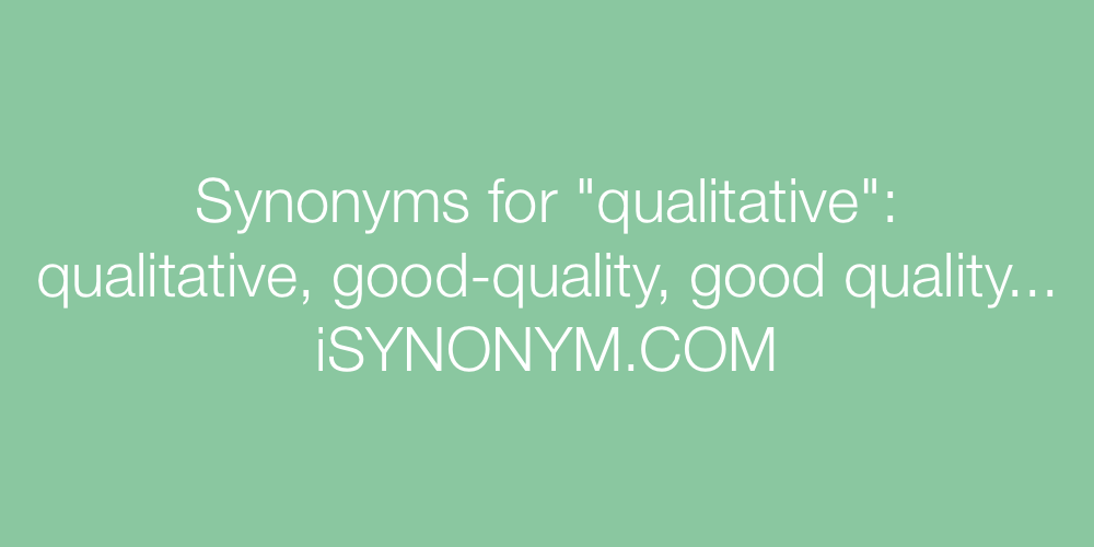 Synonyms qualitative