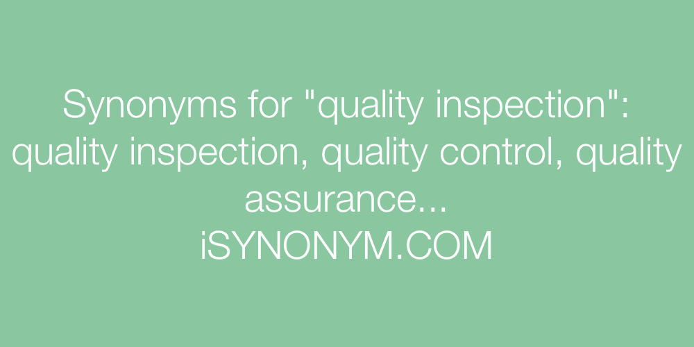 Synonyms quality inspection