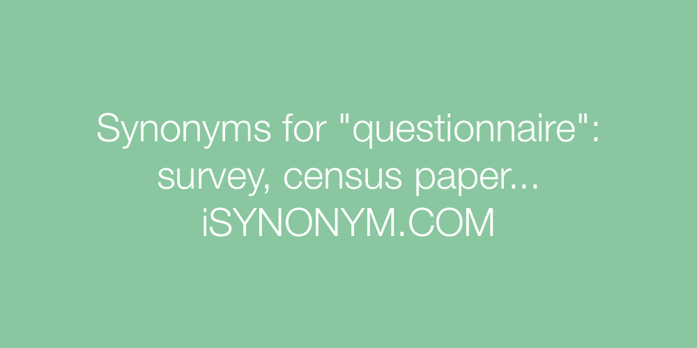 Synonyms questionnaire