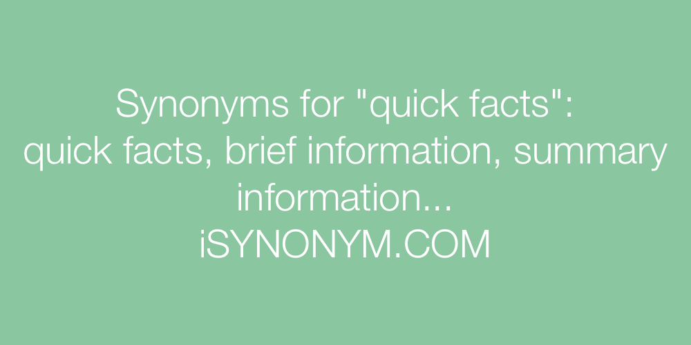 Synonyms quick facts