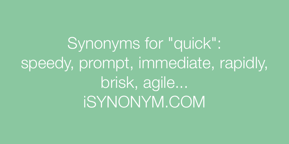Synonyms quick