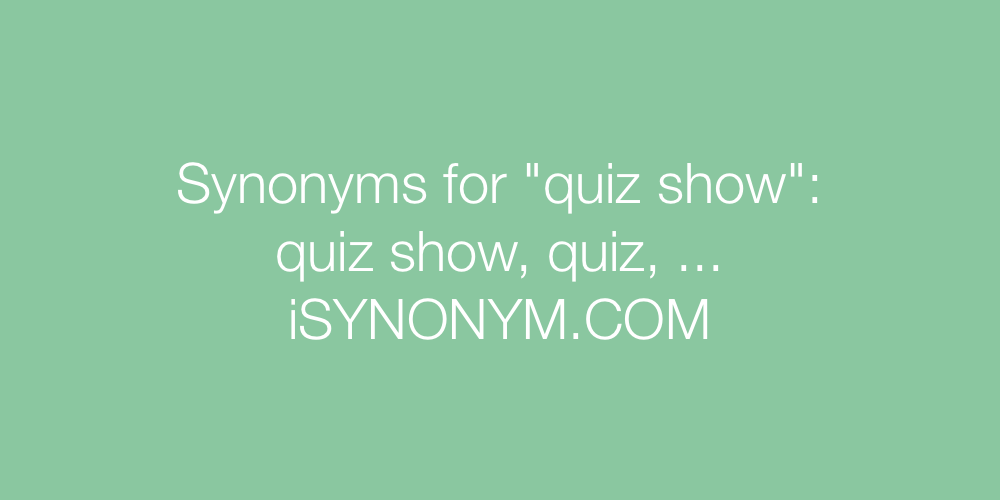 Synonyms quiz show