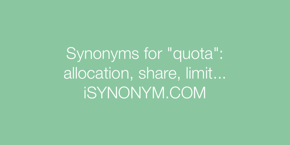 Synonyms quota