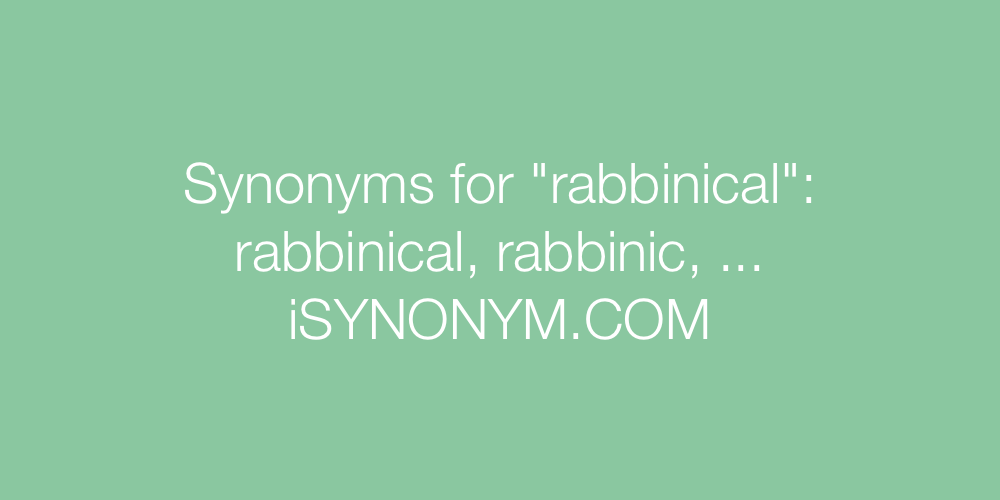 Synonyms rabbinical