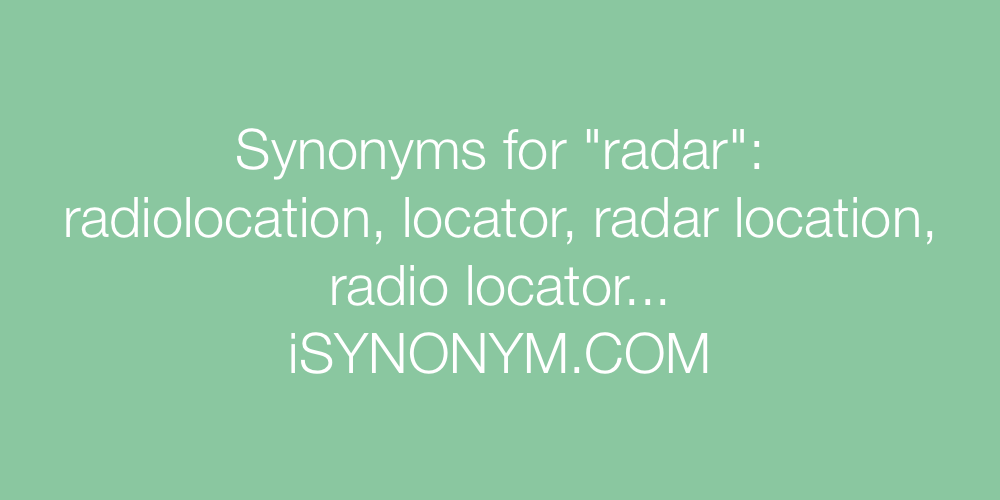 Synonyms radar