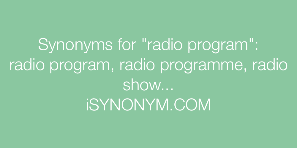 Synonyms radio program