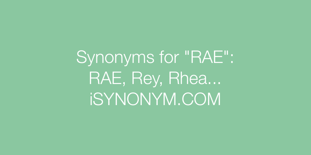 Synonyms RAE