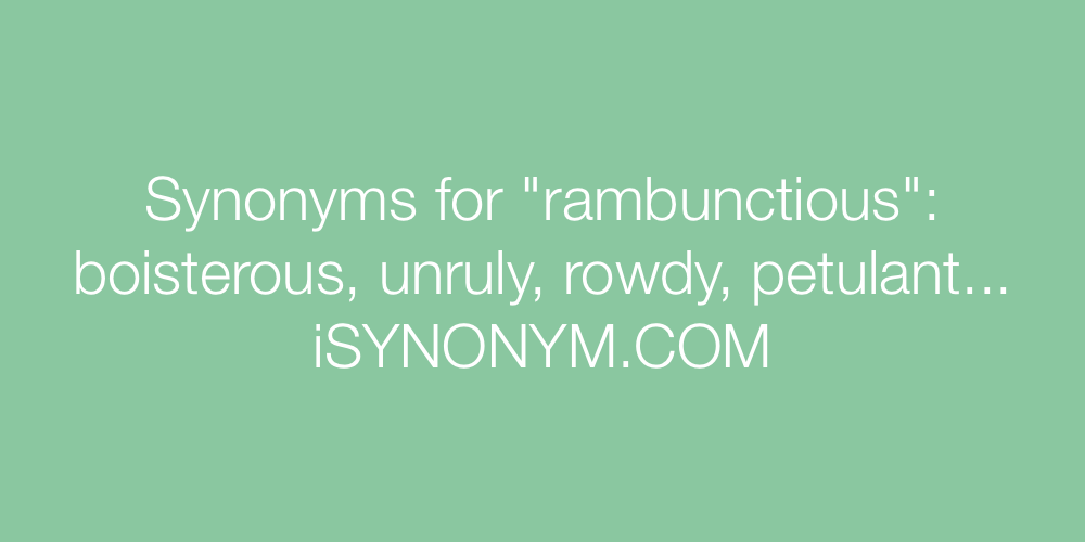 Synonyms rambunctious