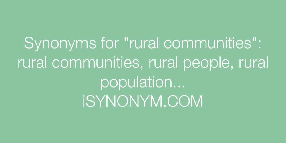 Synonyms rural communities