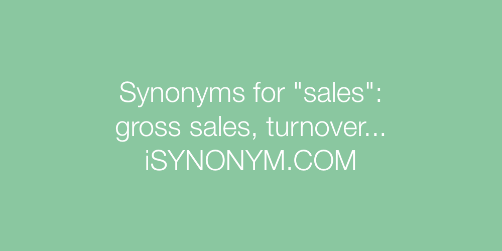 Synonyms sales