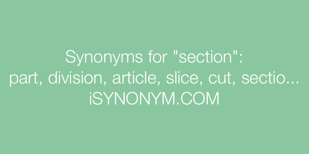 Synonyms for section | section synonyms - ISYNONYM.COM