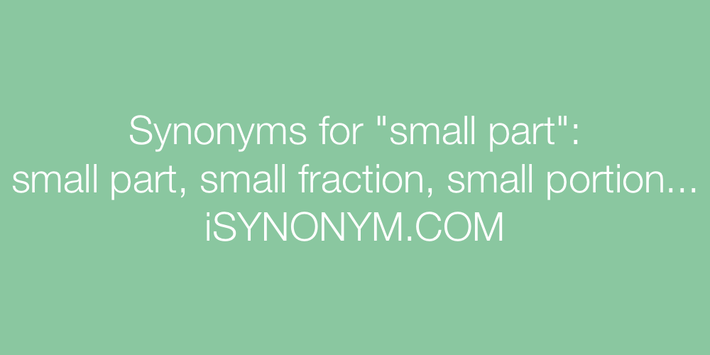 Synonyms small part