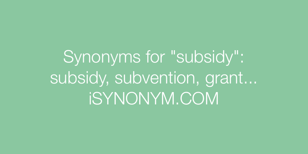 Synonyms subsidy