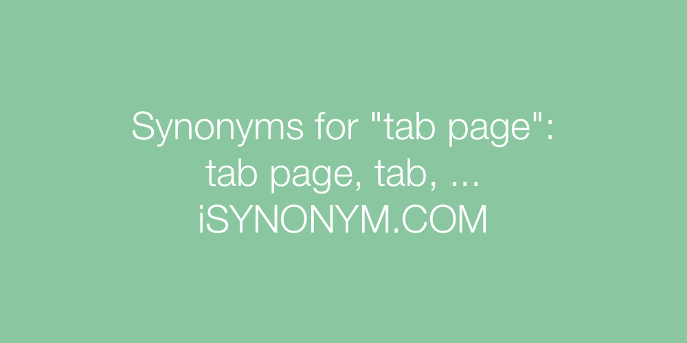 Synonyms tab page