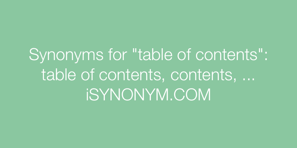Synonyms table of contents