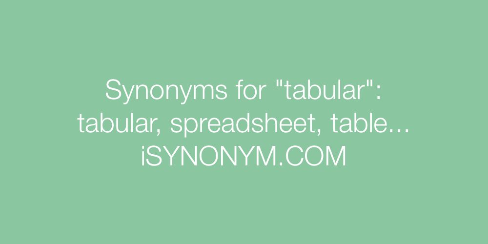 Synonyms tabular