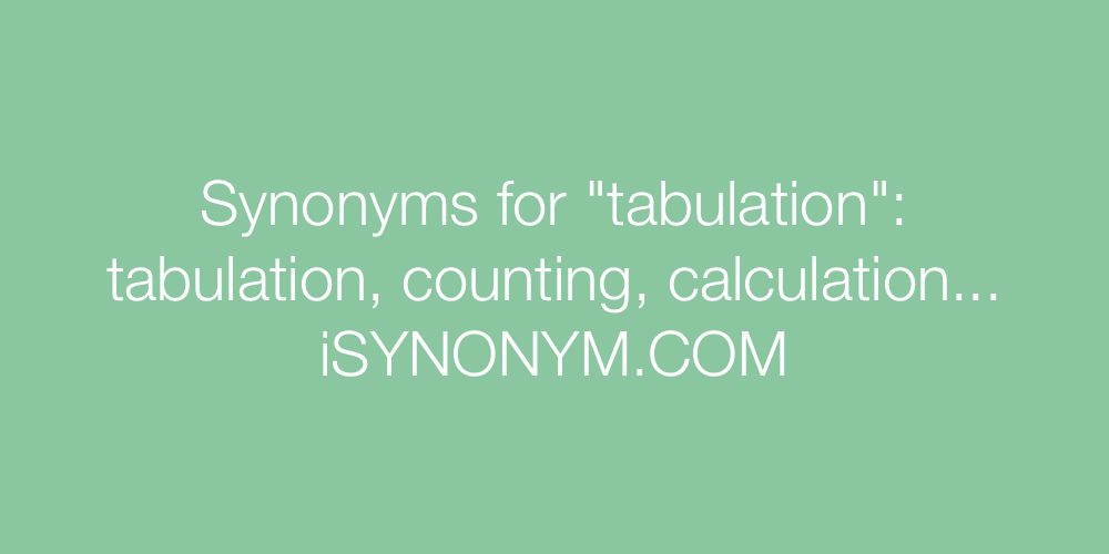 Synonyms tabulation