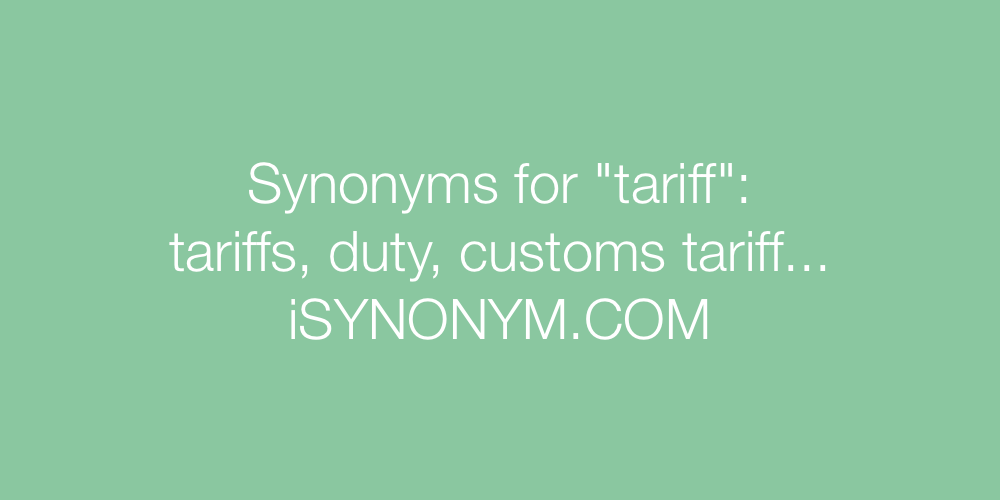 Synonyms tariff