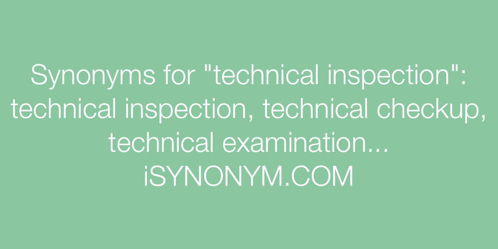 Synonyms technical inspection