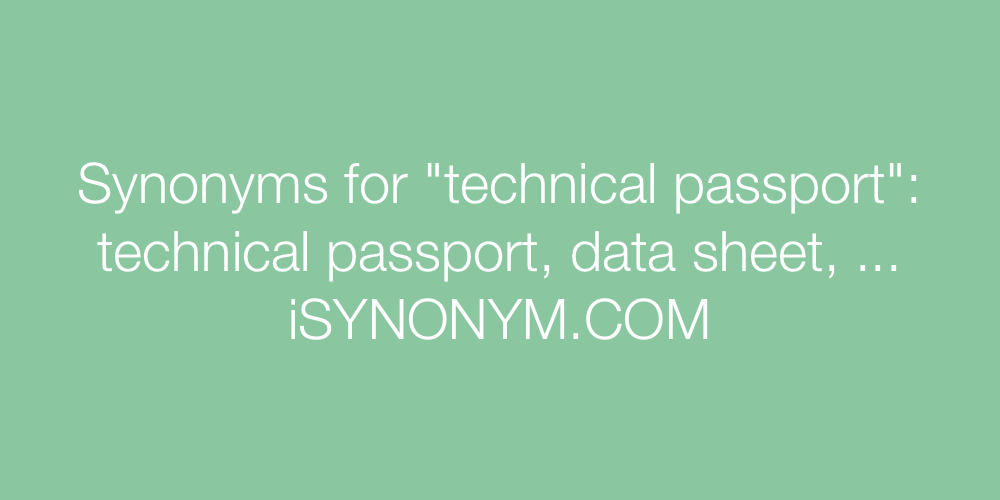 Synonyms technical passport